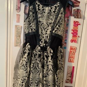 ASTR Gold and Black Embroidered Dress NWT
